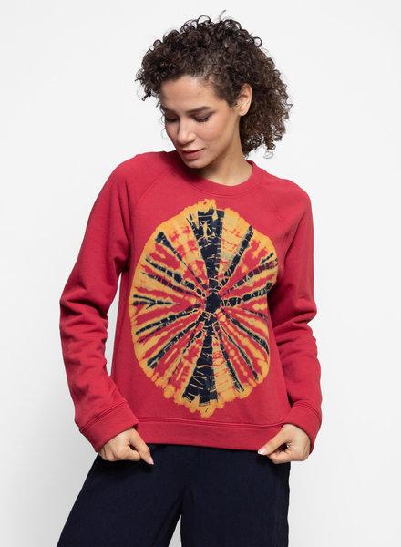 Raquel Allegra Raglan Sweatshirt Mars Red Tie Dye