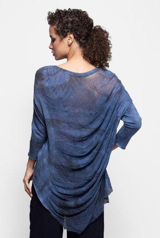 Raquel Allegra 3/4 Sleeve Cocoon Top Aqua Tie Dye