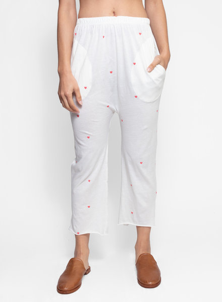 The Great The Lounge Crop Pant Washed White With Valentine Hearts