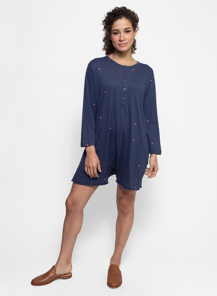 The Great The Henley Romper Navy with Valentine Hearts