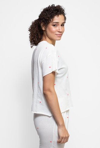 The Great The Cut Edge Tee Washed White With Valentine Hearts