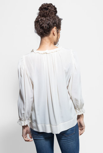 The Great The Story Long Sleeve Silk Top Cream