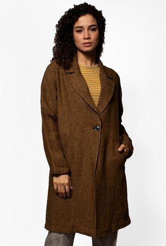 Pomandere Linen Textured Long Coat