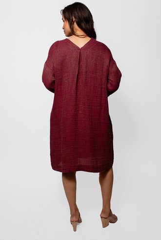 Pomandere V-neck Stripe Dress with Pocket