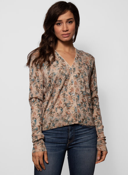 Burning Torch Laurel Cashmere Cardigan Botanical