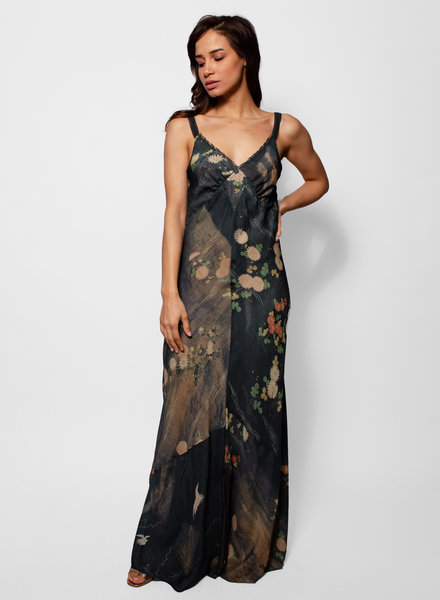 Burning Torch Formosa Bias Silk Maxi Dress Multi