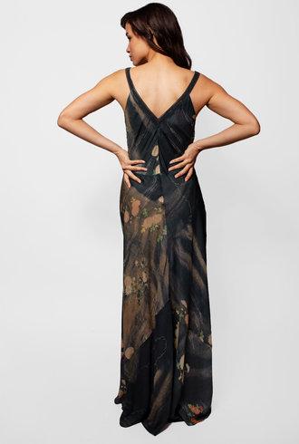 Burning Torch Formosa Bias Silk Maxi Dress Multi