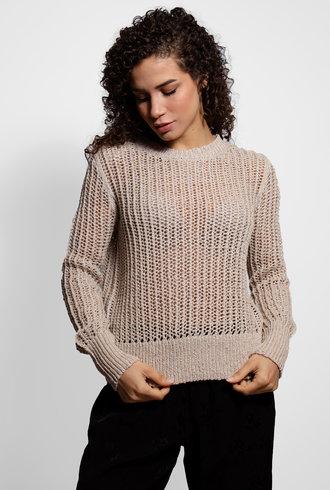Raquel Allegra Beige Galaxy Crew Sweater