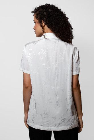 Raquel Allegra White  Floral Jacquard Carina Shirt