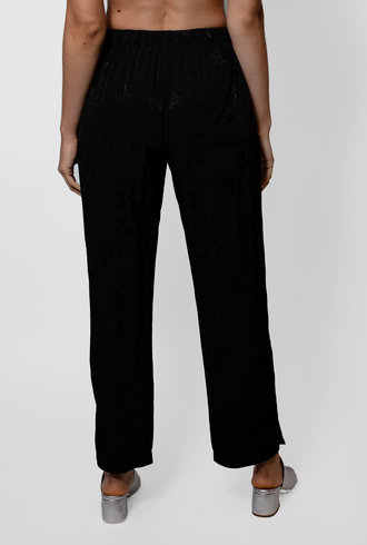 Raquel Allegra Black Floral Jacquard Drawstring Trouser