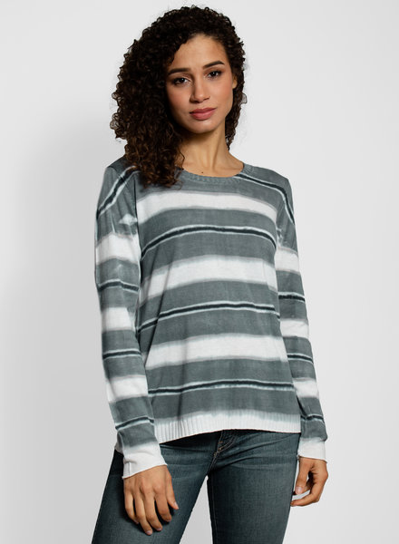 MA+CH Easy Crew Stripe Sweater Grey
