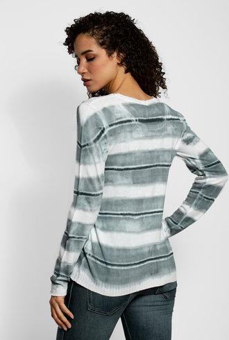 MA+CH Easy Crew Stripe Sweater Grey