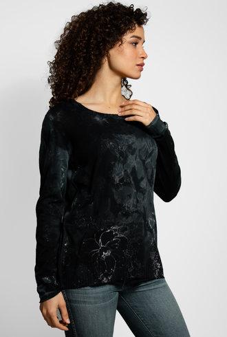 MA+CH Easy Crew Strip Sweater Black