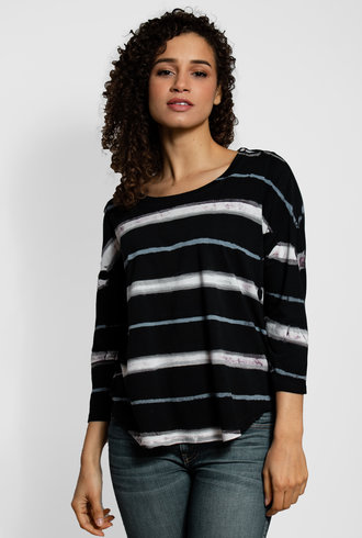 MA+CH 3/4 Sleeve Stripe Shirt Tail Tee