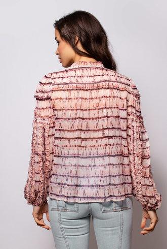 Ulla Johnson Mari Blouse Blush Silk Tie Dye