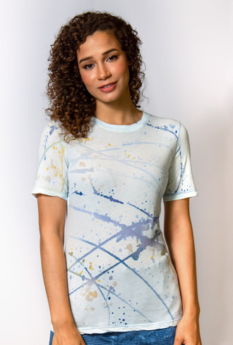 Raquel Allegra Slim Tee Violet Watercolor