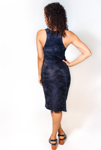 Raquel Allegra Racerback Dress Black Tie Dye