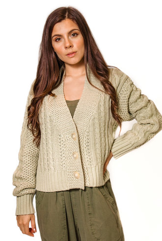 The Great The Cable Montana Cardigan Sea Green