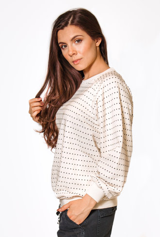 The Great The Swiss Dot Bubble Sweatshirt Washed White