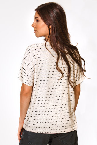 The Great The Swiss Dot Cropped Tee White Washed