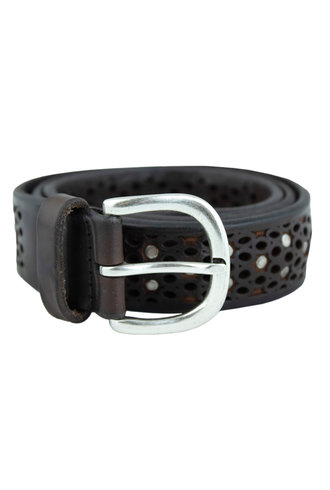 Orciani Soft Bull Belt with Studs T. Moro Chocolate