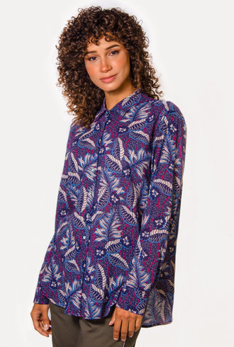 Xirena Beau Shirt Blue Fauna
