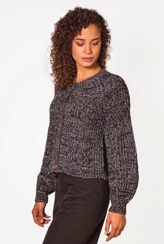 The Great The Sophomore Cardigan Black Marled