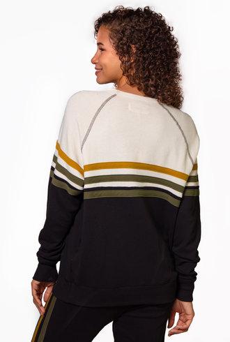 The Great The College Sweatshirt Stripe Applique Almost Black w/ Citron Stripe