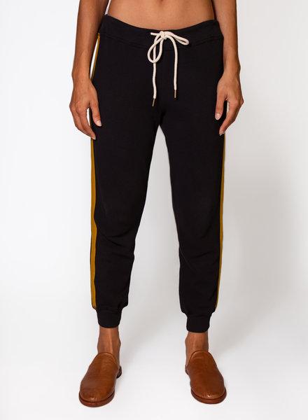 The Great The Cropped Sweatpant Stripe Applique Almost Black w/ Citron Stripe