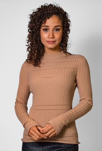 Inhabit Cashmere Pointelle Crew Ginger