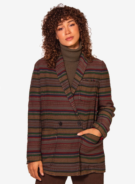 Raquel Allegra Country Blazer Olive Stripe