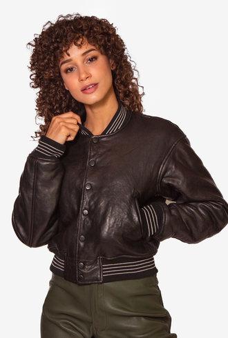 John Elliott Cropped Leather Stadium Jacket Black