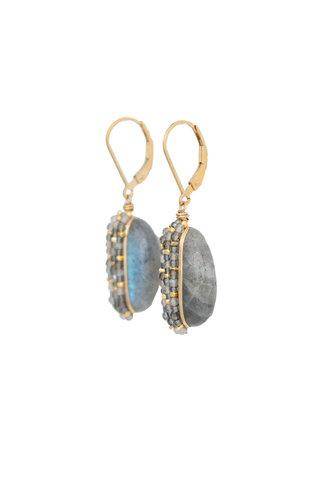Dana Kellin Fashion Labradorite and Gold Earrings