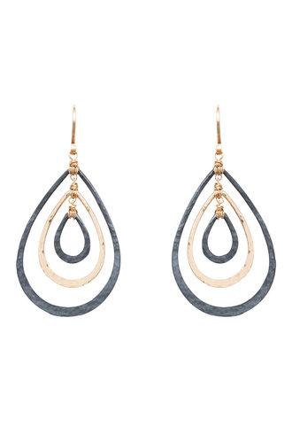 Dana Kellin Fashion Dark Silver and Gold Teardrop Earrings