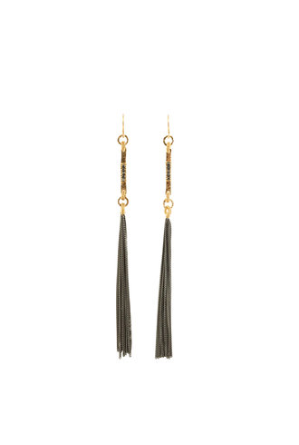 Dana Kellin Fashion Dark Silver and Gold Fringe Earrings