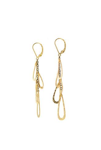 Dana Kellin Fashion Dark Silver and Gold Textured Earrings