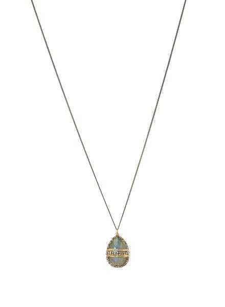 Dana Kellin Fashion Labradorite, Dark Silver and Gold Necklace