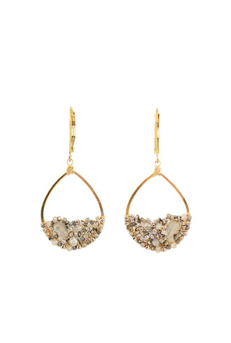 Dana Kellin Fashion Labradorite Mix and Gold Earrings