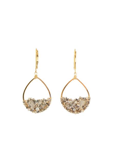 Dana Kellin Fashion Labradorite Mix and Gold Earrings