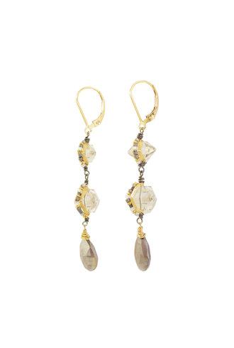 Dana Kellin Fashion Grey Moonstone and Crystal Earrings