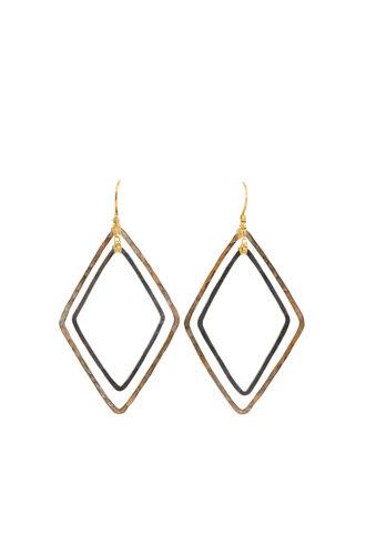 Dana Kellin Fashion Dark Silver and Gold Diamond-Shaped Earrings