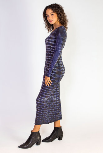 Raquel Allegra Long Sleeve Fitted Dress Tie Dye Night Orchid