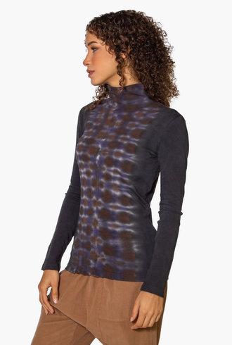 Raquel Allegra Long Sleeve Turtleneck Tie Dye Night Orchid