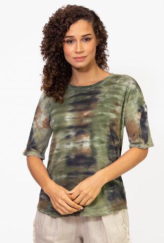 Raquel Allegra Basic Tee Army Camo Tie Dye