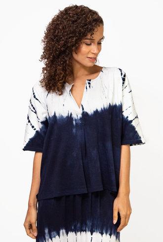 Raquel Allegra Henley Tee Tie Dye Indigo/White Hilma