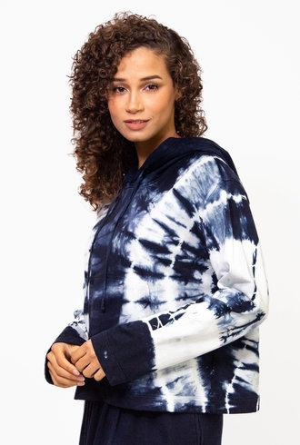 Raquel Allegra Crop Hoodie Tie Dye Indigo/White Hilma