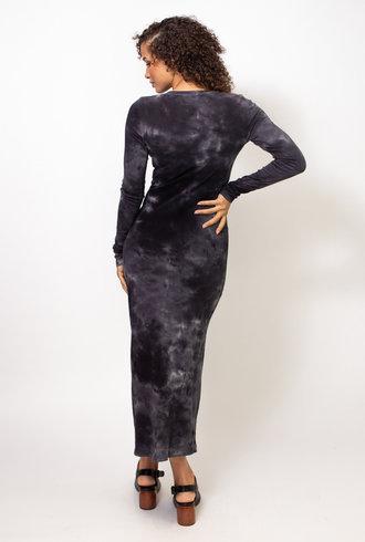 Raquel Allegra Long Sleeve Layering Dress Black Camo Tie Die