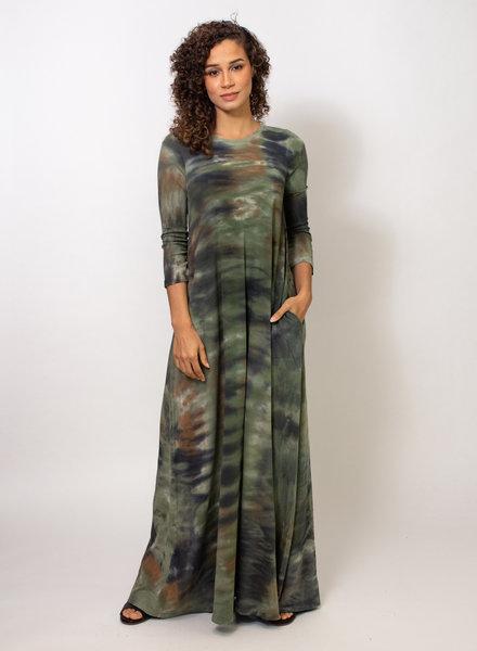Raquel Allegra Drama Maxi Army Camo Tie Dye