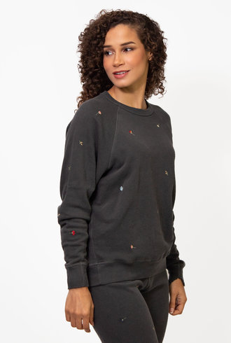 The Great The College Sweatshirt W/Tossed Floral Embroidery