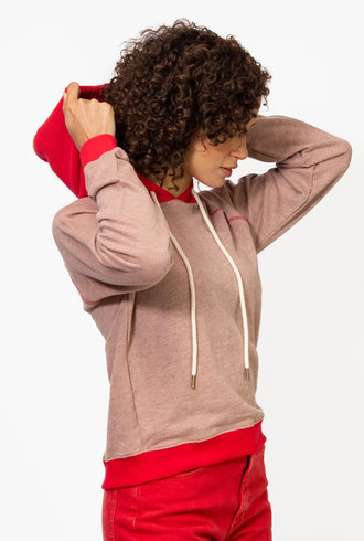 The Great The Color Blocked Shrunken Hoodie Overdyed Melon W/Cherry